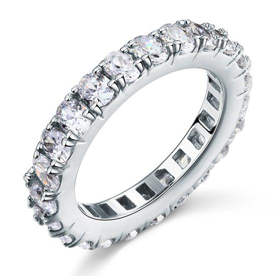 Oval Cut Eternity Solid Sterling 925 Silver Created Diamond Ring