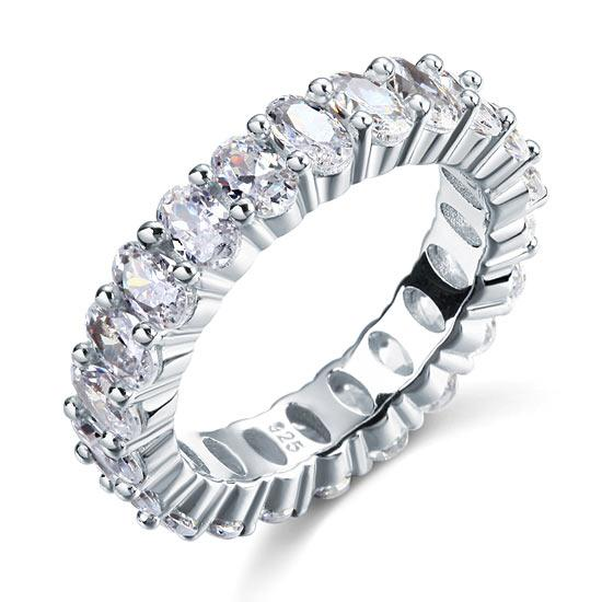 Oval Cut Eternity Solid Sterling 925 Silver Wedding Ring Band Jewelry