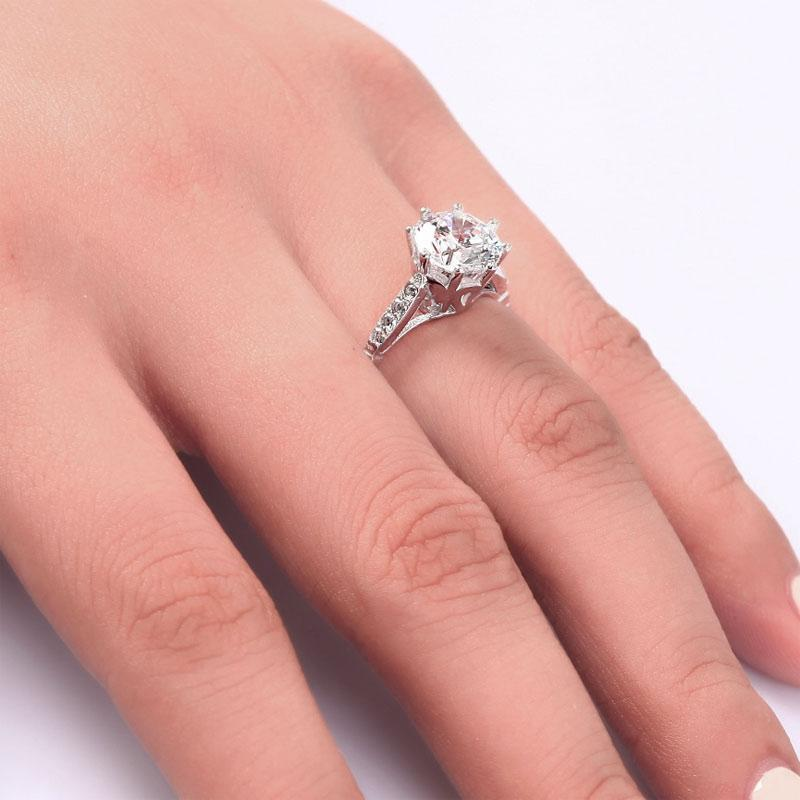 2 Carat Round Cut Ring Solid 925 Sterling Silver Wedding Anniversary Engagement