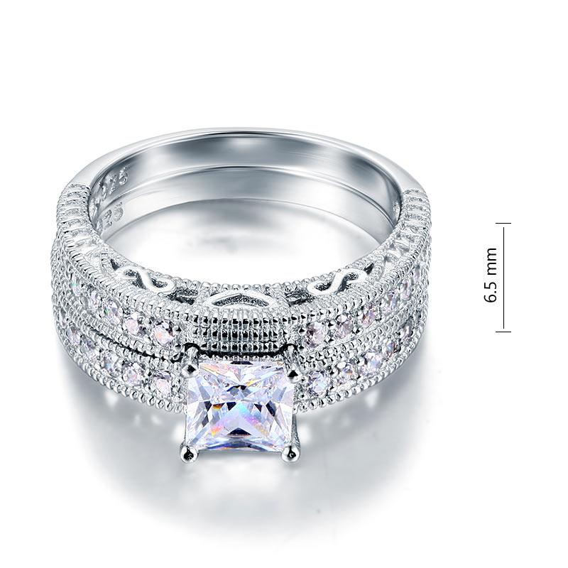 Vintage Style Victorian Art Deco 1 Carat Created Diamond Solid Sterling 925 Silver 2-Pc Wedding Engagement Ring Set