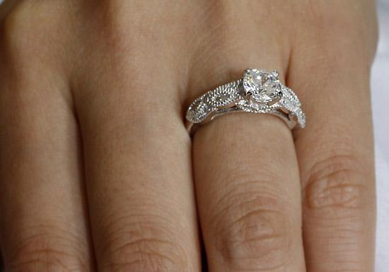 Vintage Style 1 Ct Solid 925 Sterling Silver Bridal Wedding Engagement Ring