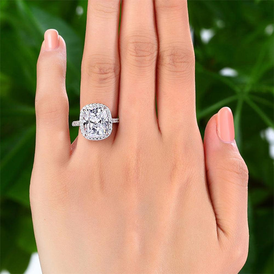 Solid 925 Sterling Silver Luxury Engagement Ring 6 Ct Cushion Created Diamond
