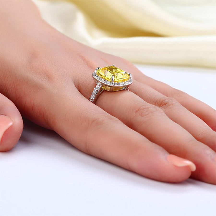 Solid 925 Sterling Silver Luxury Engagement Ring 6 ct Cushion Cut Yellow Canary Created Diamante Jewelry