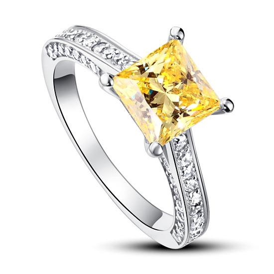 1.5 Carat Princess Cut Yellow Canary Created Diamond 925 Sterling Silver Wedding Engagement Ring