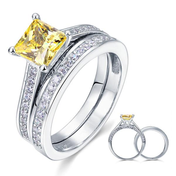1.5 Ct Princess Cut Yellow Canary Solid 925 Sterling Silver 2-Pcs Wedding Ring SetS