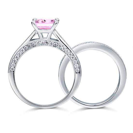 1.5 Carat Princess Cut 2-Pc Fancy Pink Created Diamond 925 Sterling Silver Wedding Engagement Ring SetS