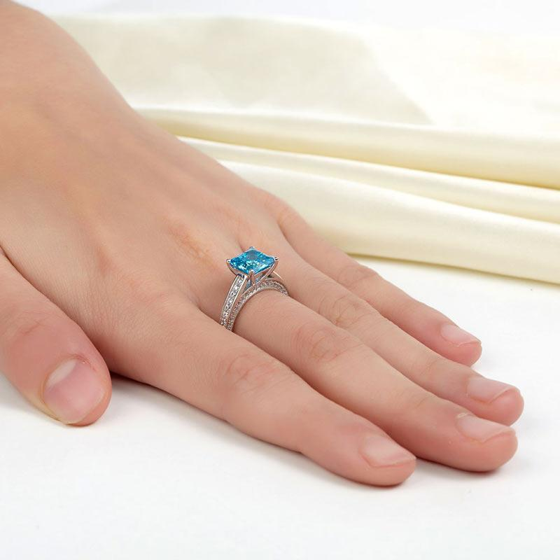 1.5 Carat Princess Cut Fancy Blue Created Diamond 925 Sterling Silver Wedding Engagement Ring