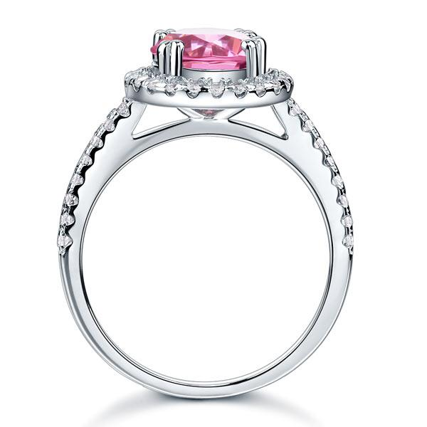 925 Sterling Silver Wedding Engagement Halo Ring 2 Carat Fancy Pink Created Diamond