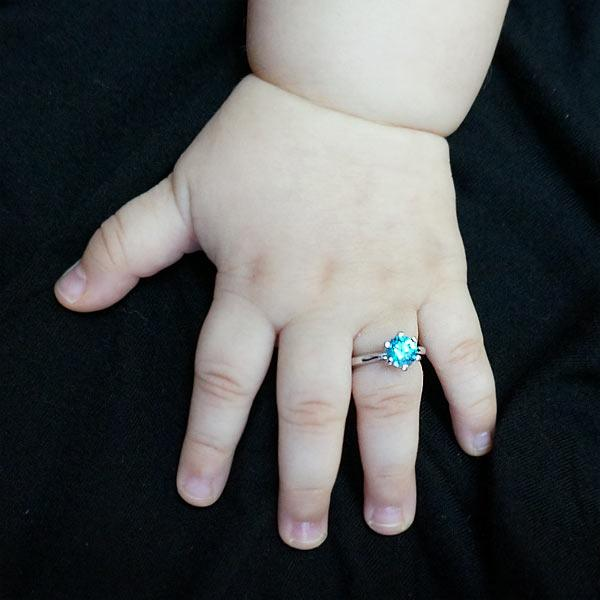 Newborn Baby 925 Sterling Silver Ring Blue Created Diamond Photo Prop