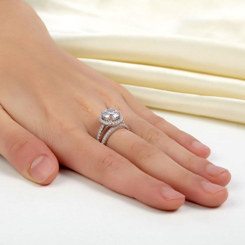 925 Sterling Silver Wedding Halo Ring Set 2 Carat Created Diamond