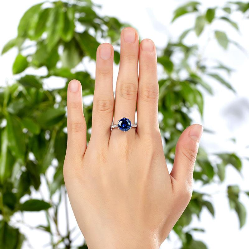 925 Sterling Silver Engagement Luxury Ring 3 Carat Blue Created Tanzanite Jewelry