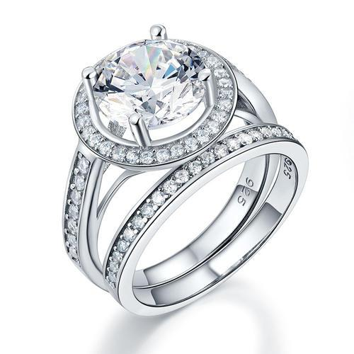 Luxury 925 Sterling Silver Promise Engagement Ring Set 3.5 Ct Vintage Created Diamond