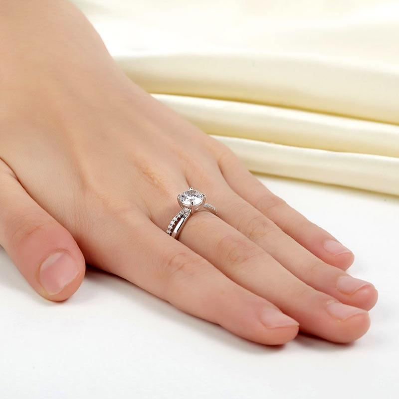 925 Sterling Silver Wedding Promise Anniversary Ring 1.25 Ct Created Diamond