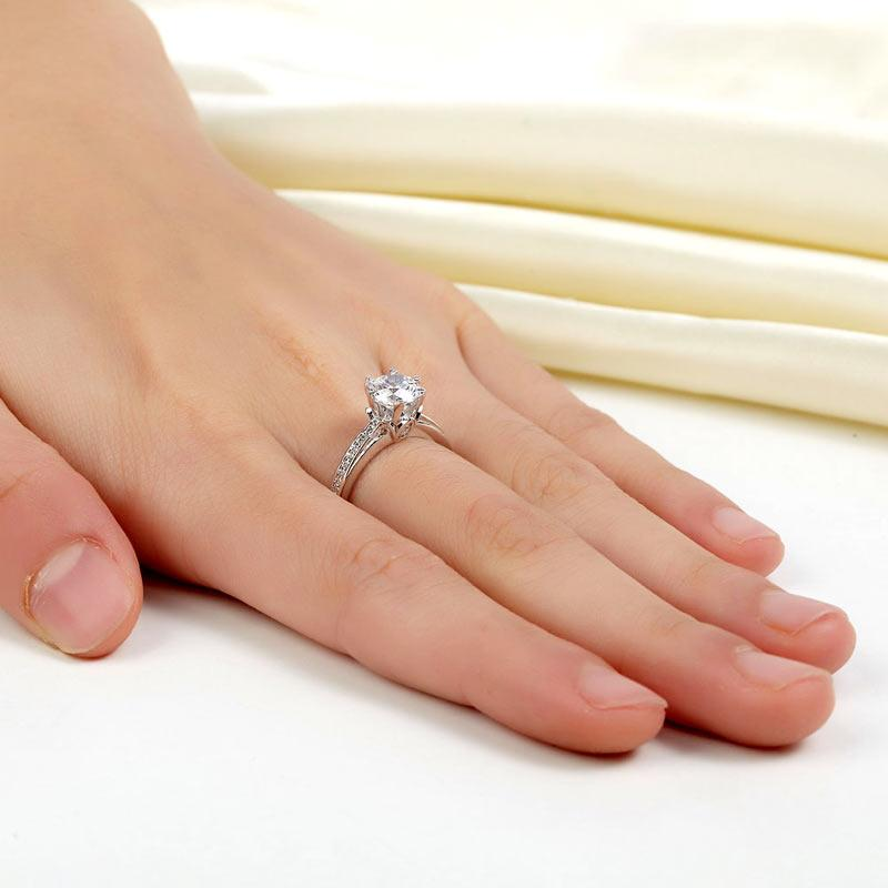 6 Claws 925 Sterling Silver Wedding Promise Engagement Ring 1.25 Ct Created Diamond Jewelry