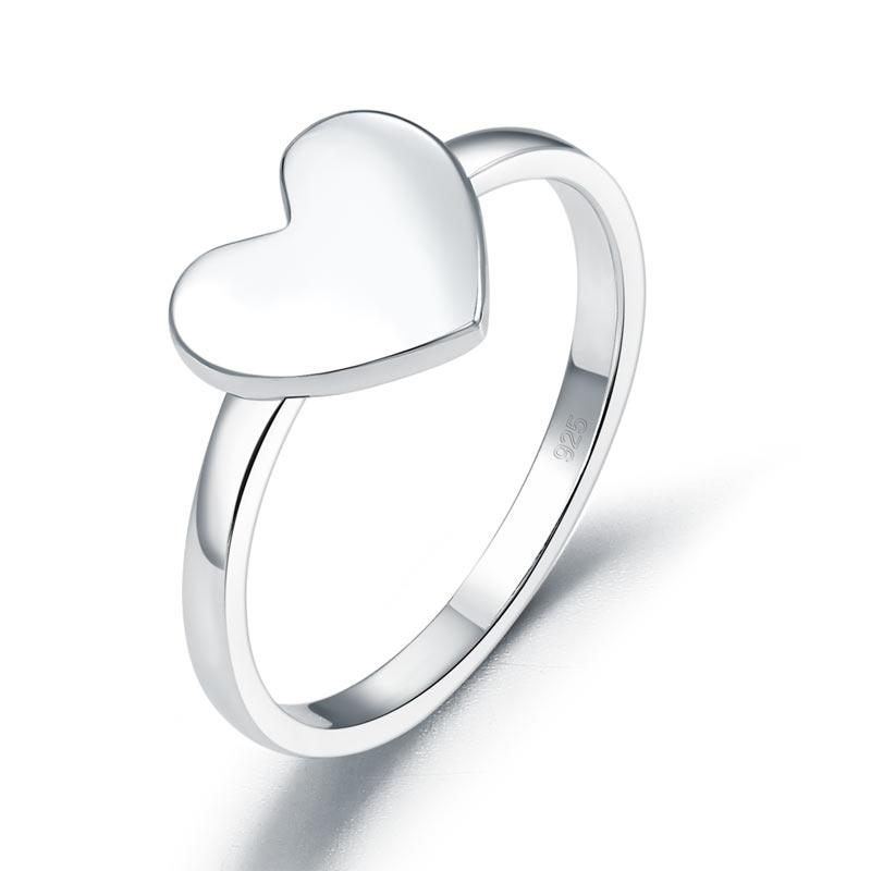 Plain Solid 925 Sterling Silver Ring Heart Fashion Trendy Stylish