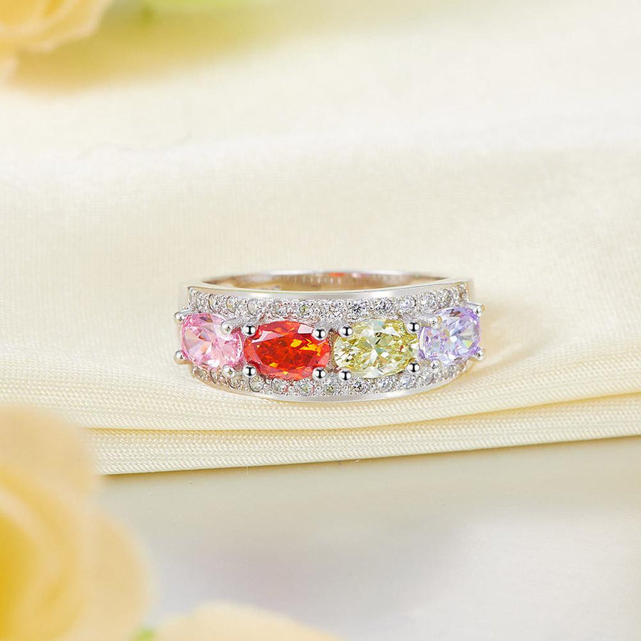 Wedding Band Multi-Color Stone Anniversary Solid 925 Sterling Silver Ring Jewelry