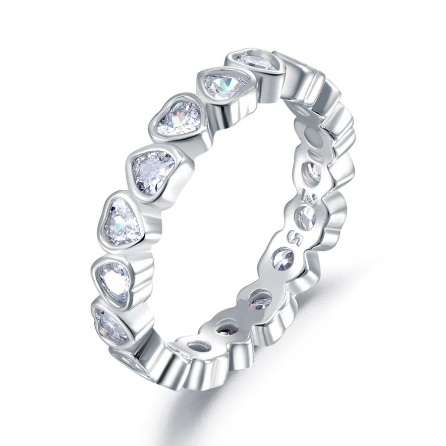 Eternity Wedding Band Heart Solid 925 Sterling Silver Stacking Ring Jewelry