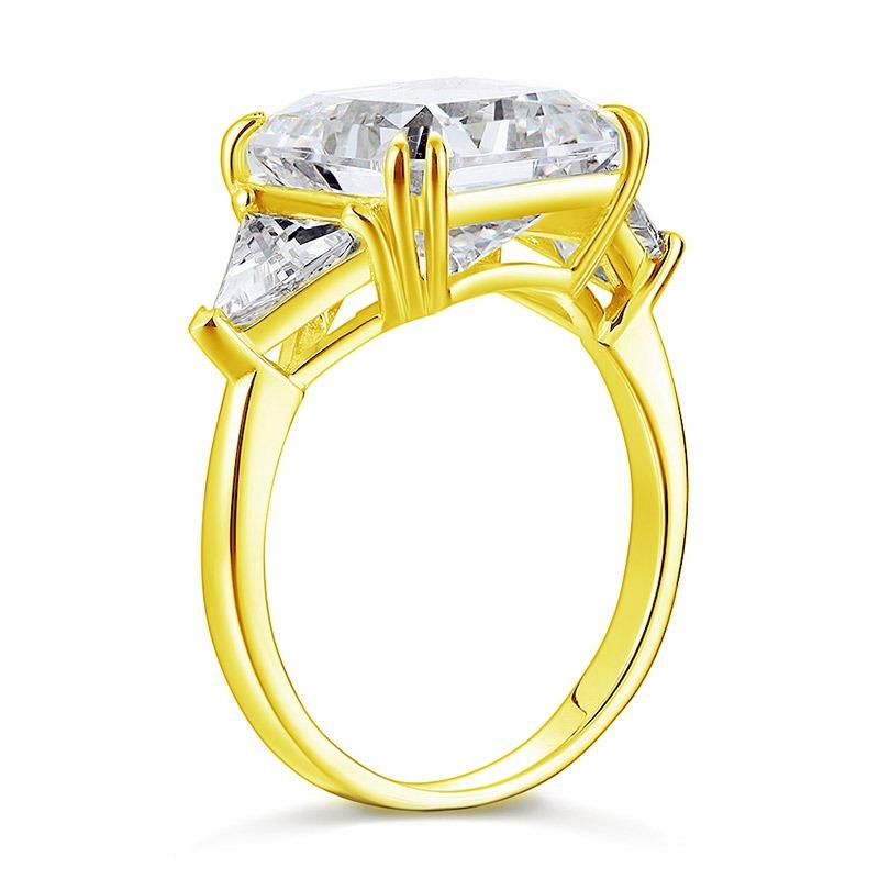 Solid 925 Sterling Silver Three-Stone Luxury Ring Anniversary 8 Carat Created Diamond Yellow Gold Plated