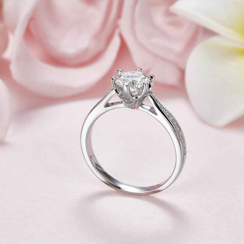 1 Carat Moissanite Diamond Ring Engagement 925 Sterling Silver