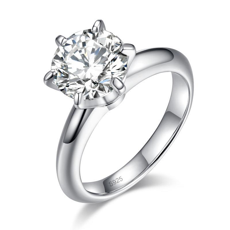 2.5 Carat Moissanite Diamond (9 mm) Luxury Ring 6 Claws Engagement 925 Sterling Silver