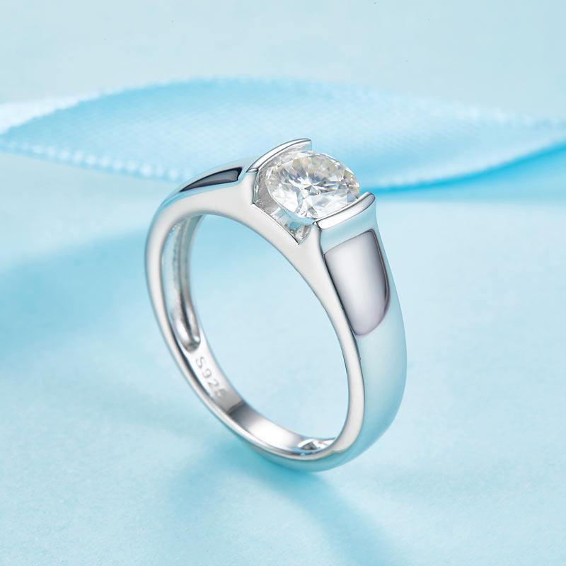 Men's Ring Moissanite Diamond 1 Carat Engagement 925 Sterling Silver