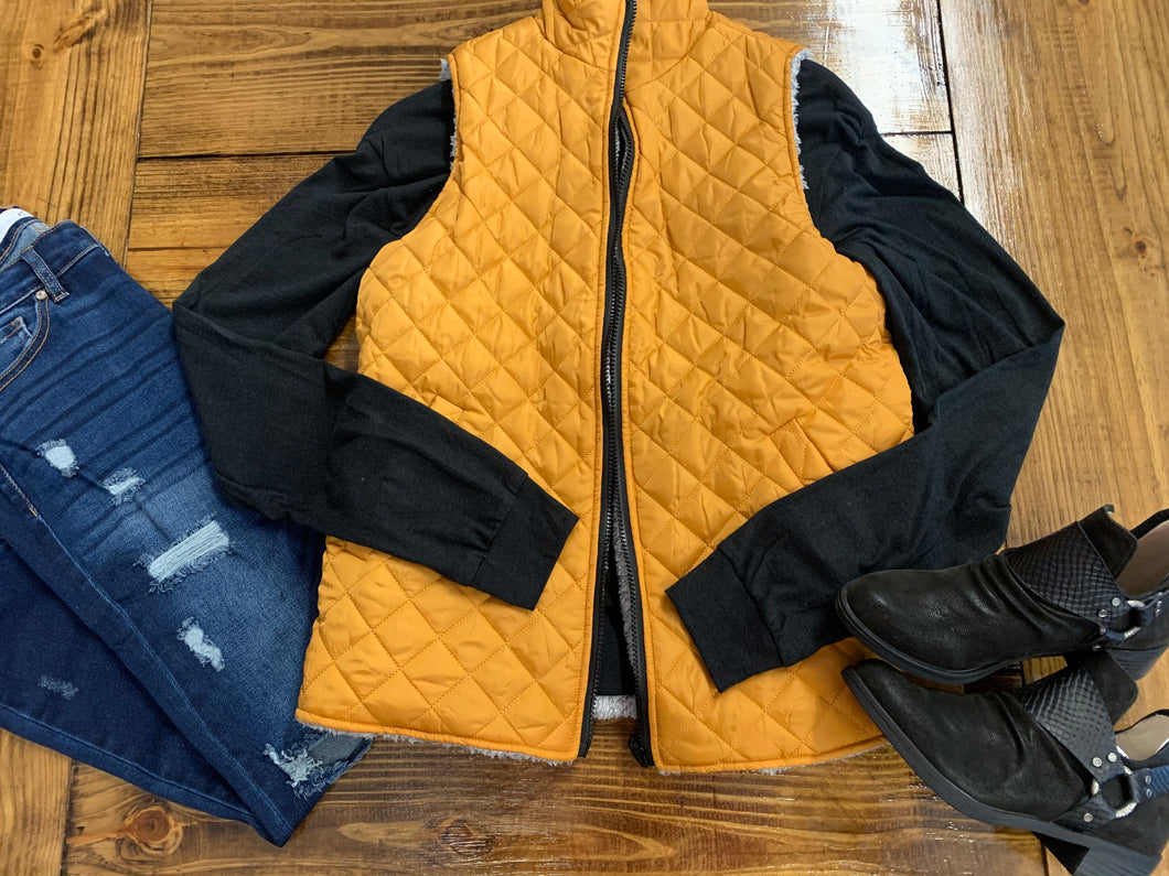 Simply Southern- Reversible Vest- Mustard/Grey