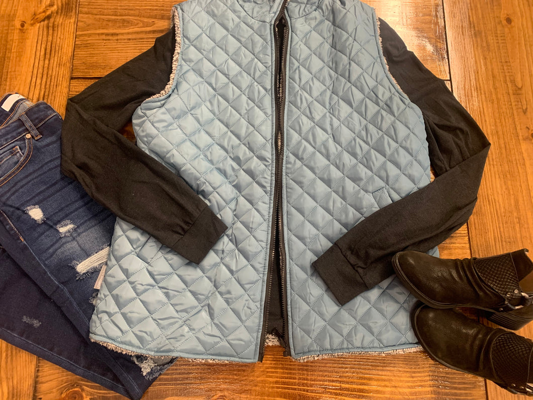 Simply Southern Reversible Vest- Teal/Grey