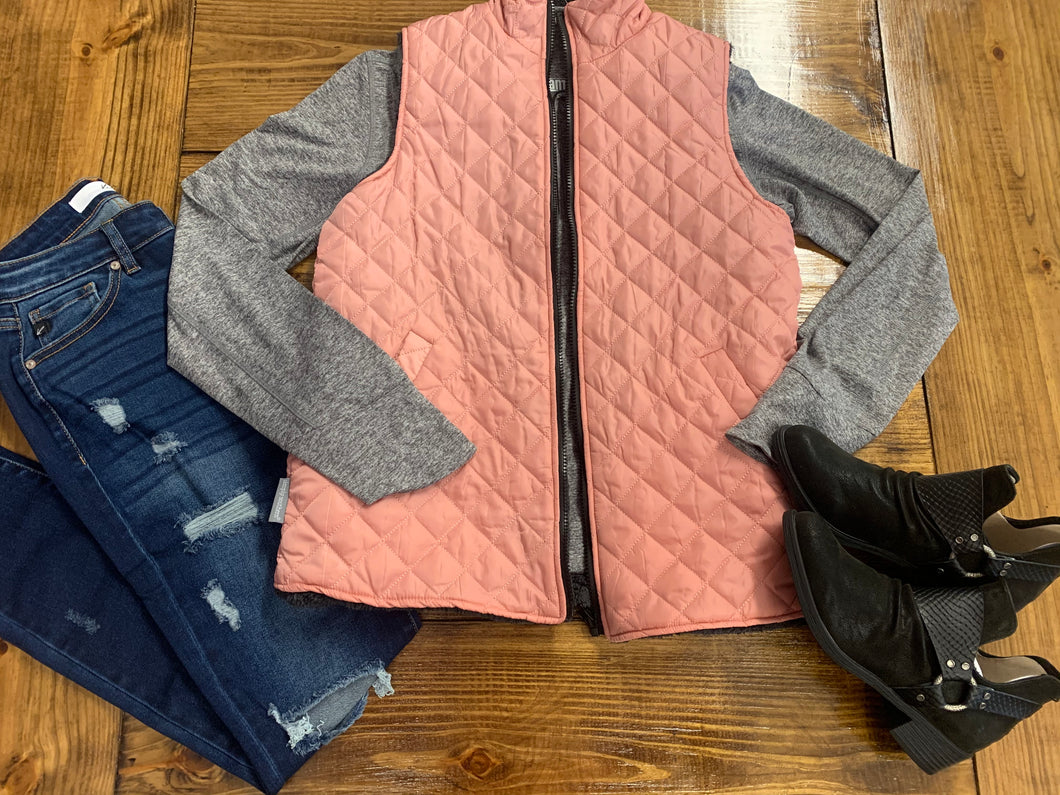 Simply Southern- Reversible Vest- Pink/Grey