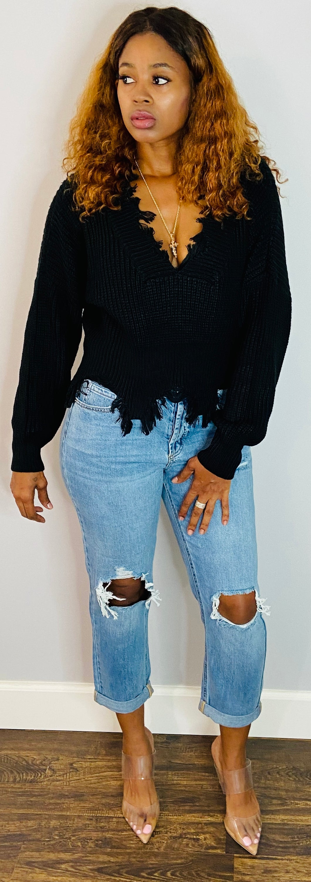 Drop Shoulder Distressed Trim | Snow Flake Sweater | My Curvy Secrets
