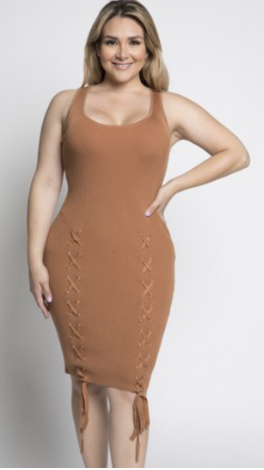 Women's Cream Sleeveless Sweater Dress | Laced Up | My Curvy Secrets