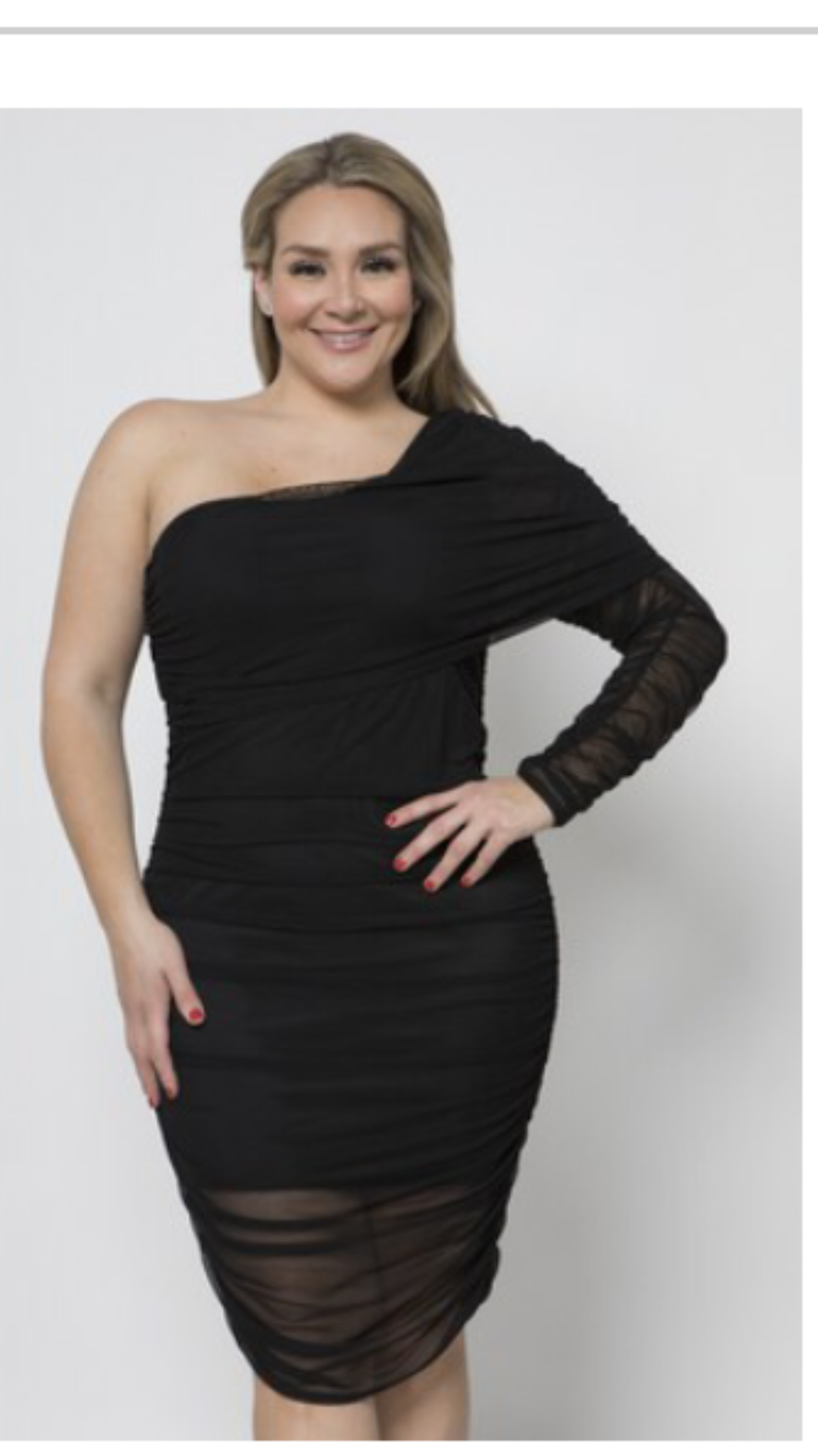 Women's Off Shoulder Long Sleeve Black Dress | Veronica | My Curvy Secrets