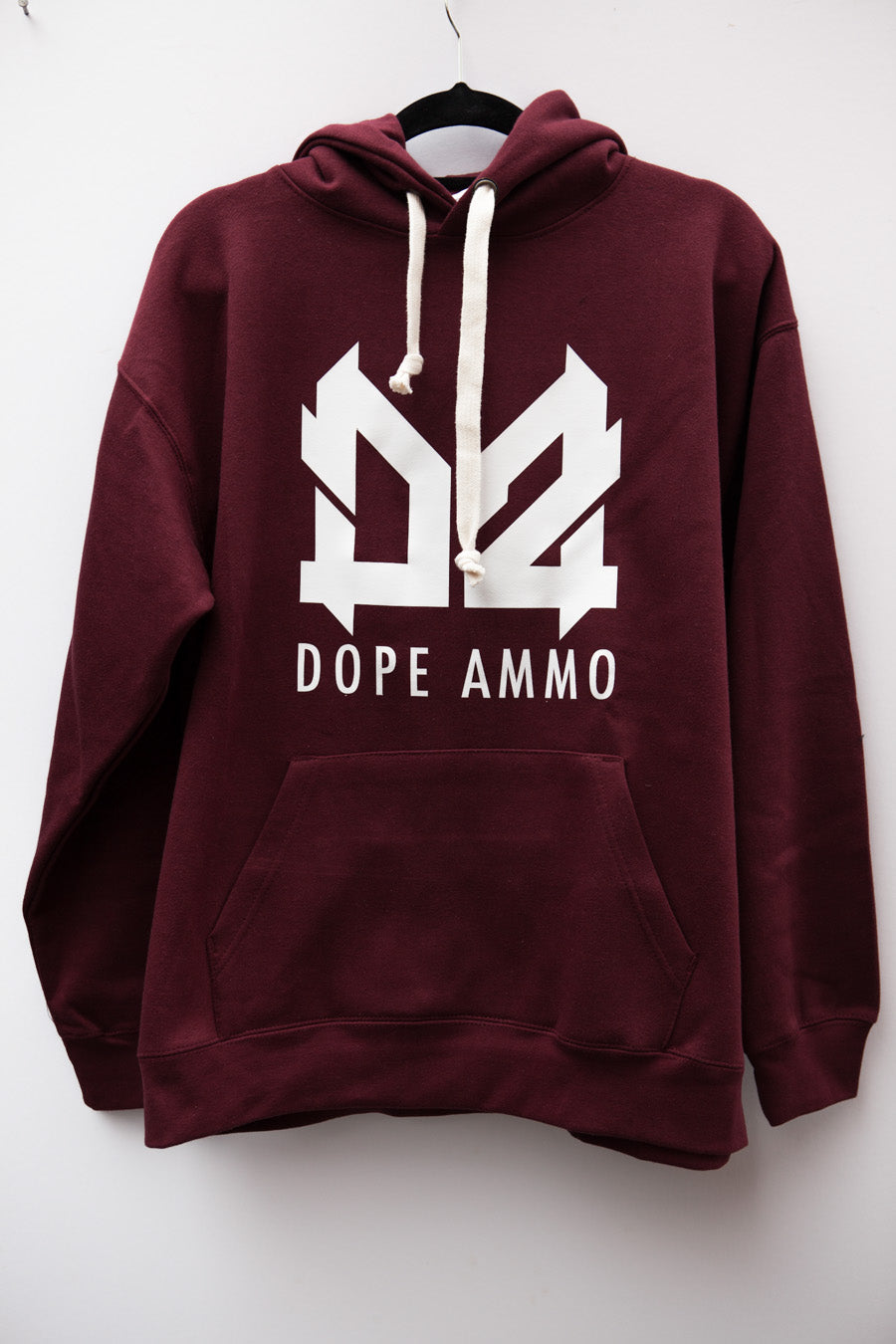 Dope Ammo Hoodie (Burgundy with white print)