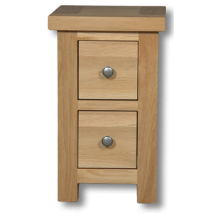 Richmond Oak 2 Drawer Compact Bedside Table