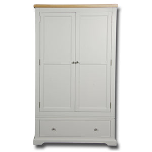 Rio Grey Painted 2 Door 1 Drawer Double Wardrobe