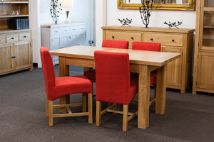 Richmond Oak Extendable 1.2-1.5m Dining Table with 4 Red Chairs