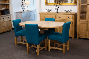 Manhattan Oak 1.2m - 1.5m Extendable Oval Table With 4 Teal Low Back Chairs