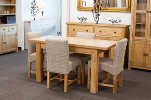 Richmond Oak Extendable 1.2-1.5m Dining Table with 4 Mink Chairs