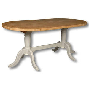 Rio Grey Painted Oval Double Pedestal Fixed Top Dining Table