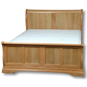 "Richmond Oak 4' 6"" Double Sleigh Bed Frame"