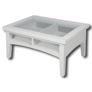 Rio Snow White Painted 800mm Glass Coffee Table