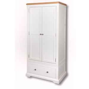 Rio Snow White Painted 2 Door 1 Drawer Single Wardrobe