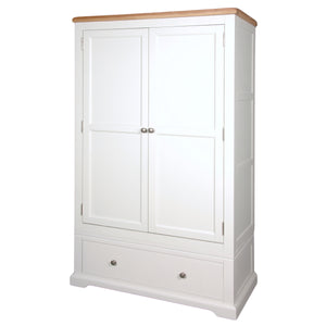 Rio Snow White Painted 2 Door 1 Drawer Double Wardrobe