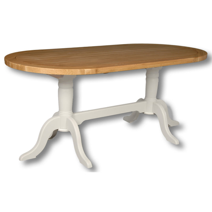 Rio Snow White Painted Oval Double Pedestal Dining Table