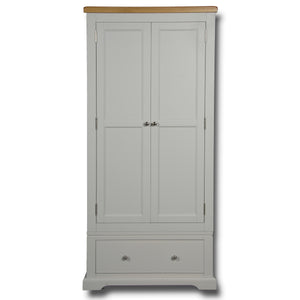 Rio Grey Painted 2 Door 1 Drawer Single Wardrobe