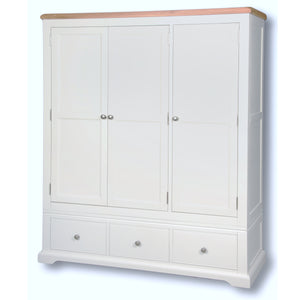 Rio Snow White Painted Triple Wardrobe + 2 Drawers