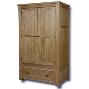 Manhattan Oak 2 Doors 1 Drawer Double Wardrobe