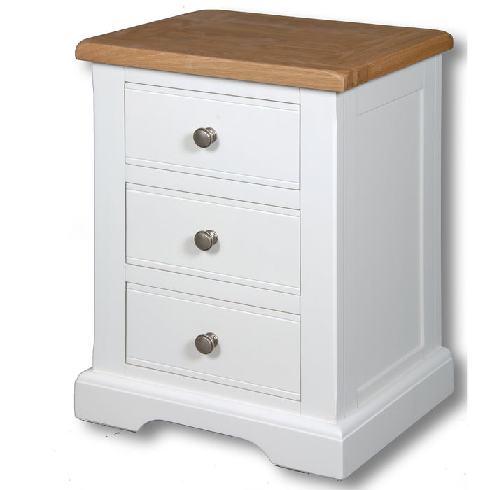 Rio Snow White Painted Large 3 Drawer Bedside