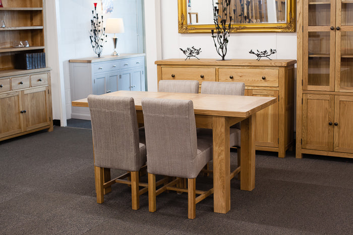 Richmond Oak Extendable 1.2-1.5m Dining Table with 4 Grey Chairs