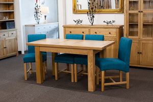 Richmond Oak Extendable 1.2-1.5m Dining Table with 4 Teal Chairs
