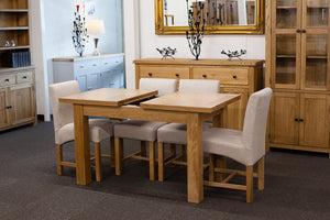 Richmond Oak Extendable 1.2-1.5m Dining Table with 4 Natural Chairs